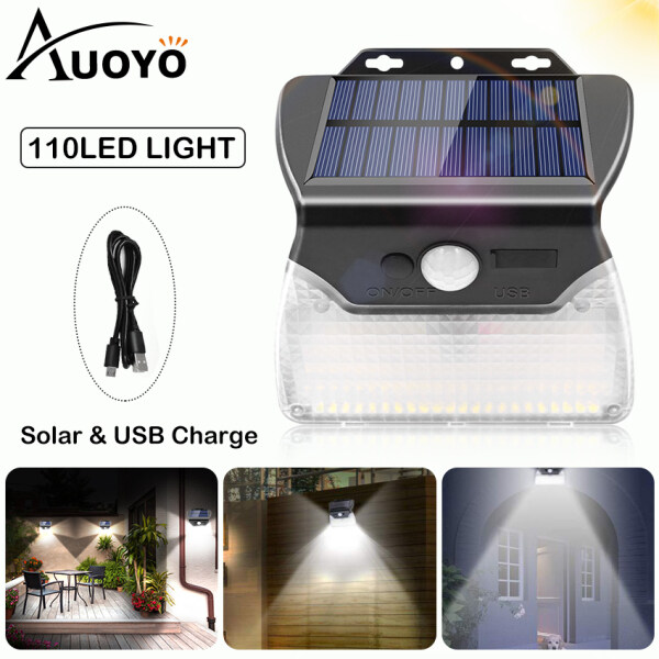 Auoyo 110LED Solar Lights Outdoor Lighting Wireless Motion Sensor Lamp Rechargeable IP65 Waterproof Light with 3 Modes Wide Angle For Garden Wall Street Indoor
