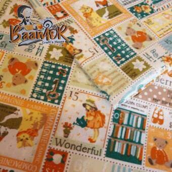 1y 1 pcs ผ้าคอตตอน ผ้า เนื้อดี ลาย น้องซู ขนาด 90 เซนติเมตร x 110 เซนติเมตร (1หลา) FB-CT-51021