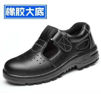 รองเท้าประกันแรงงานผู้ชายสำหรับฤดูร้อนทำงานรองเท้าปลอดภัยแบบพกพาสะดวกเหล็กหุ้มด้านหน้า Anti-Smashing ป้องกันเจาะกันลื่นระบายอากาศดับกลิ่นรองเท้าแตะ