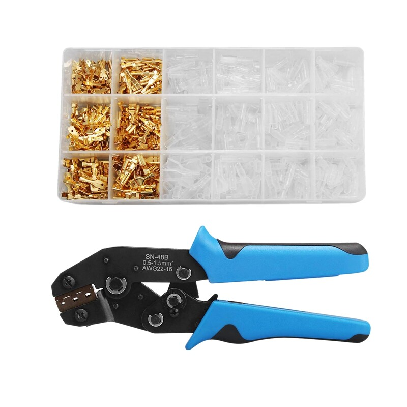 Wire Terminals Crimping Tool, Professional Ratcheting Wire Terminal Crimper Tool with 300PCS Male and Female Wire Spade Connectors Terminals Crimper Kit