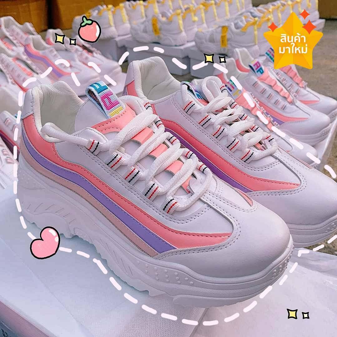 Mymyshop (มาใหม่) รองเท้าผ้าใบ รองเท้าแฟชั่น รองเท้าผ้าใบผู้หญิง เสริมส้น 5 ซม..