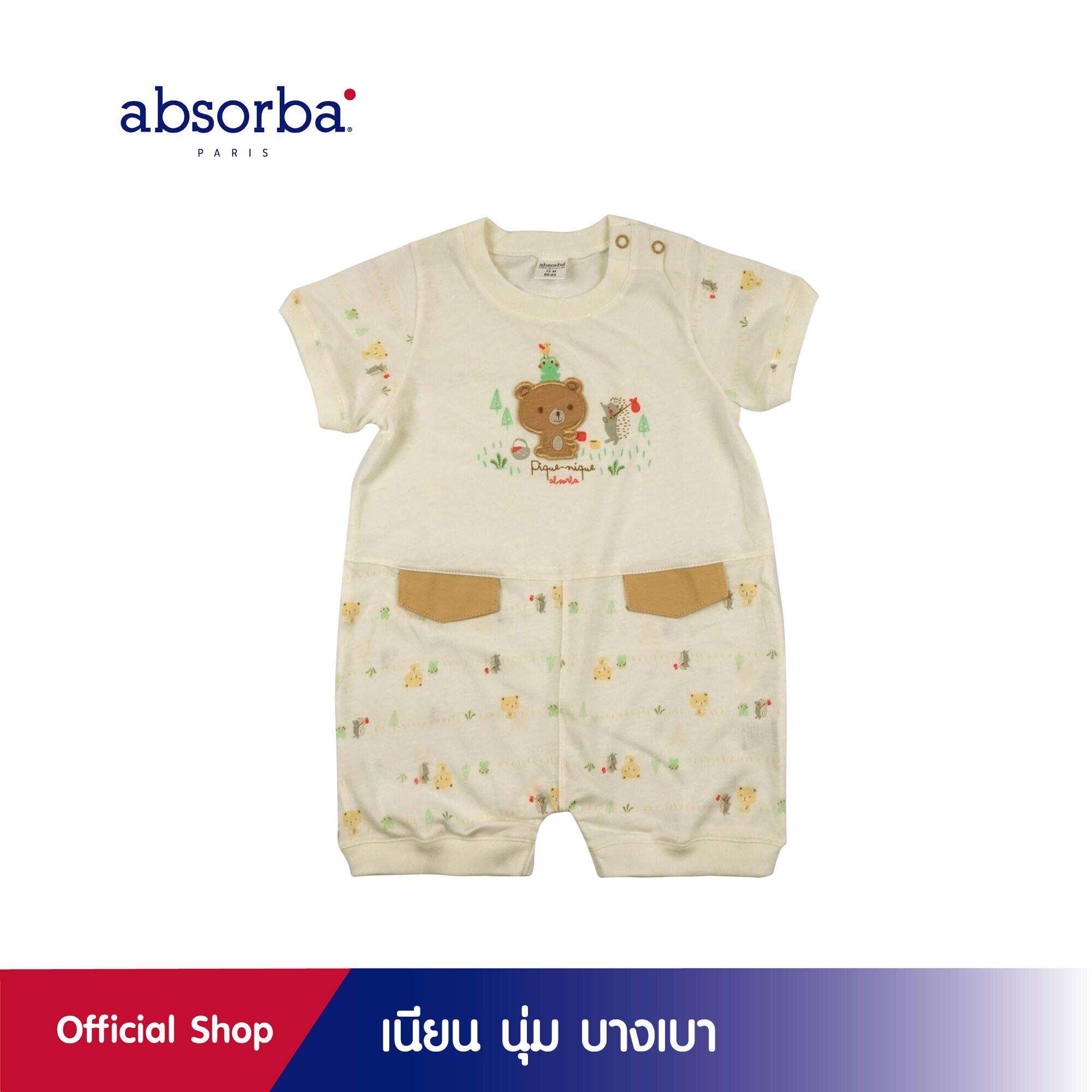 แนะนำ absorba (แอ๊บซอร์บา) ชุดหมีขาสั้นเด็กชาย คอลเลคชั่น PIQUE NIQE สำหรับเด็กอายุ 3 เดือน ถึง 2 ปี - R1U9034CR ชุดเด็กผู้ชาย