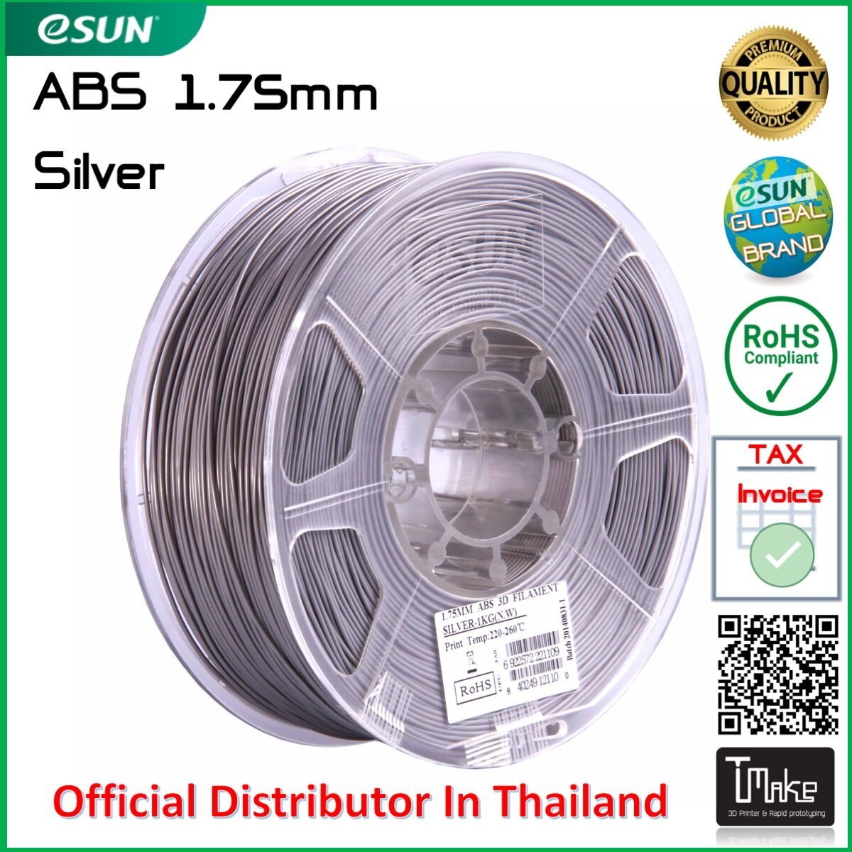 Esun Filament Abs Silver Size 1.75mm For 3d Printer.