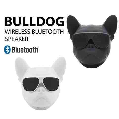 ลำโพงบลูทูธ หัวหมาbulldog Wireless Speaker มีลำโพงตรงแว่นตาและด้านหลัง มี4สี คือ สีดำ/สีแดง/สีขาว/สีทอง.