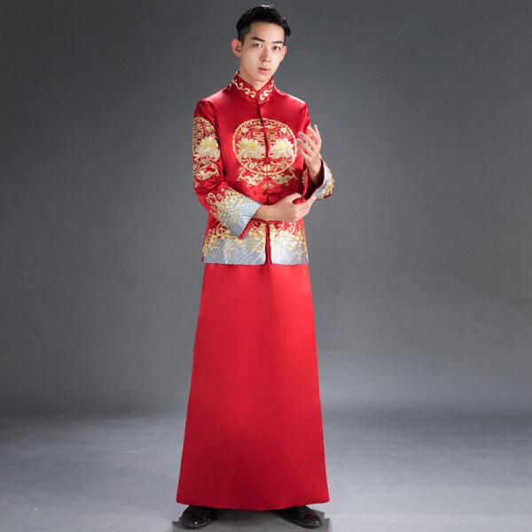 Chú Rể Phong Cách Trung Hoa Lễ Phục 2020 Thu Đông Mẫu Mới Kết Hôn Váy Tiệc Chúc Rượu Trang Phục Lễ Phục Dài Tay Váy Tiệc Chúc Rượu Váy Cưới