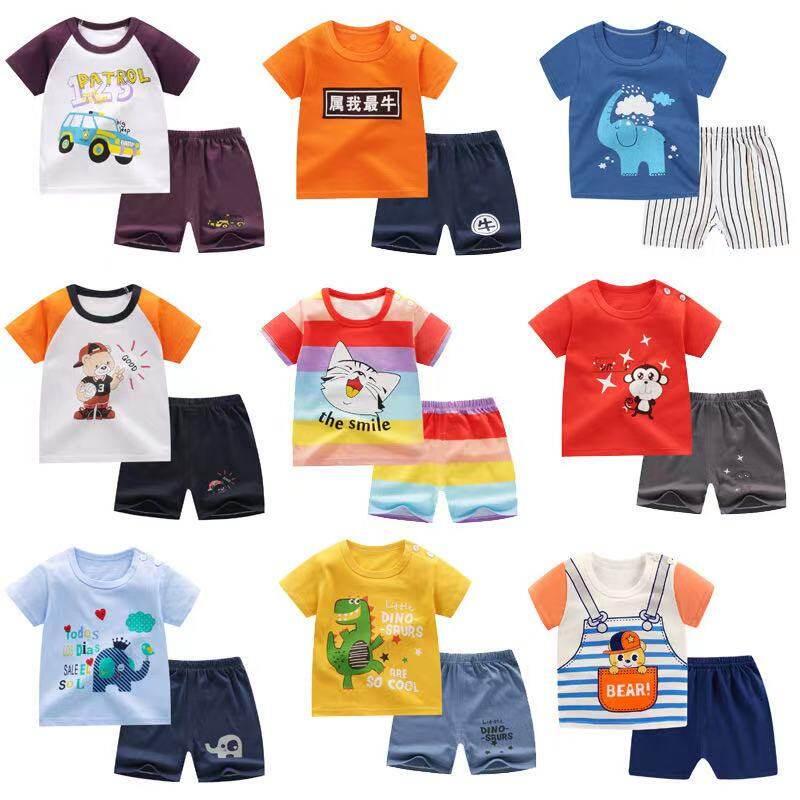 Babyonline(y089)a2ชุดเสื้อกางเกงพิมพ์ลายการ์ตูนสำหรับเด็ก6เดือนถึง4ปี.