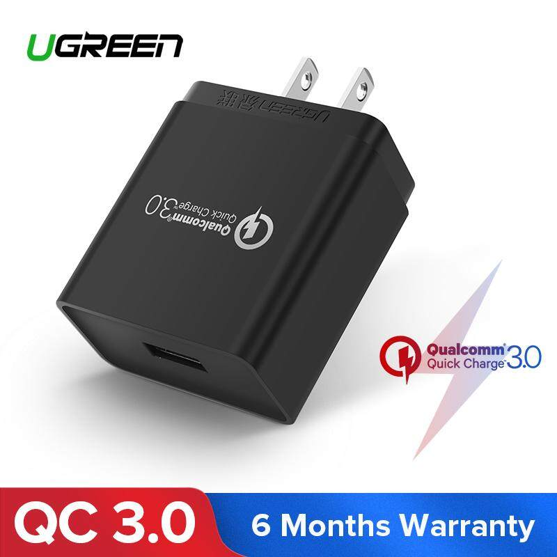 Ugreen อแดปเตอร์ชาร์จไฟ Quick Charge Qc 3.0 Usb Wall Charger, 18w Fast Wall Charger For Huawei P30 Pro, Samsung S10+, Iphone Xs, Xr, Samsung S8 S9 Note 9, Oppo, Vivo, Asus, Lg, Black-Us Plug By Ugreen Flagship Store.