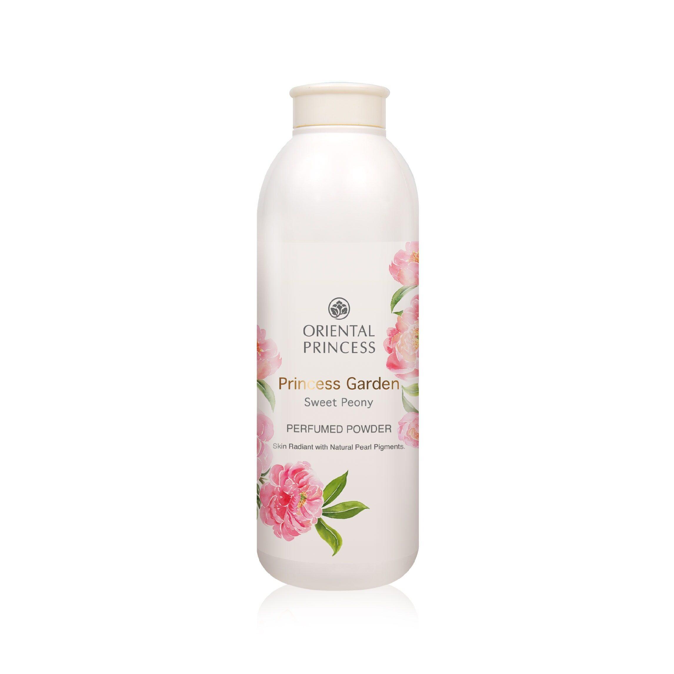 Oriental Princess, Princess Garden Sweet Peony Perfumed Powder แป้งฝุ่นหอมผสมประกายมุกสีชมพู.