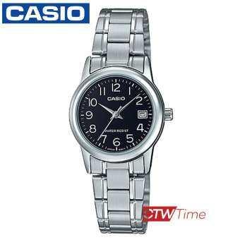ส่งฟรี !! Casio นาฬิกาข้อมือผู้หญิง สแตนเลสแท้ รุ่น LTP-V002D-1BUDF (เรือนเหล็ก/หน้าดำ)