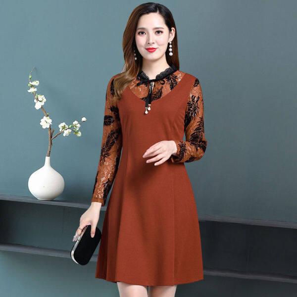 Chiếc váy dài 6932- mẹ già bán tay áo 50 váy cổ áo cổ áo ngắn tuổi trung niên và váy của phụ nữ ngắn váy kiểu mẹ chồng PPC