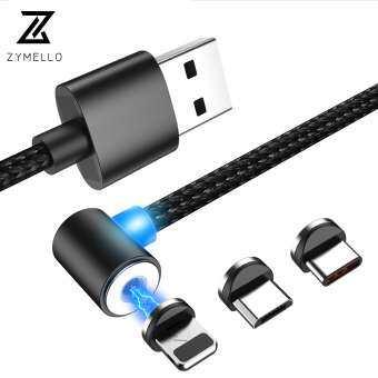 ZYMELLO ไนลอนแสงแม่เหล็ก Magnetic Charge สายเคเบิลไมโคร USB Type - C L รูปร่างสำหรับ iPhone 7 8 X iOS Android Fast Universal สายชาร์จ 1 เมตร-