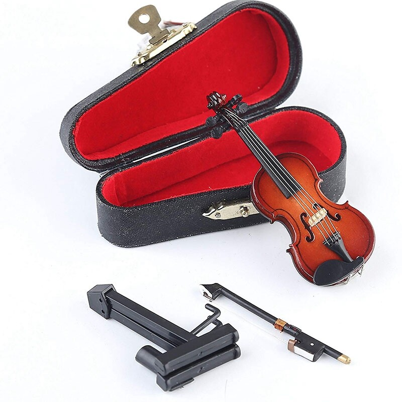 Wooden Miniature Violin with Stand,Bow and Case Mini Musical Instrument Miniature Dollhouse Model Home Decoration (3.15 inchX1.18 inchX0.59 inch)