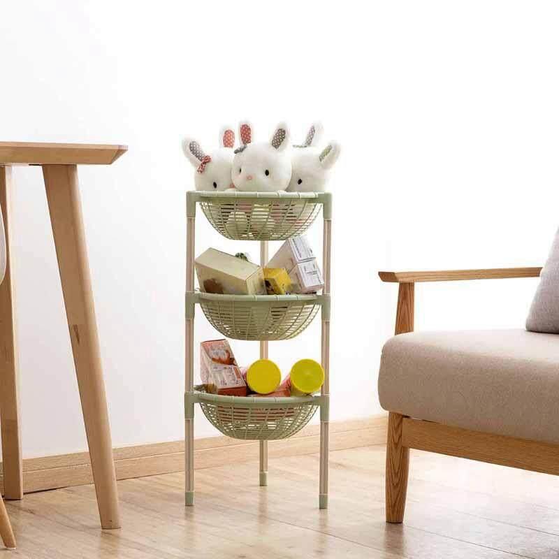 Round Storage Rack Organizer 3 Layers Dishes Rack Fruit and Vegetable Shelf Storage Organizer Kitchen
