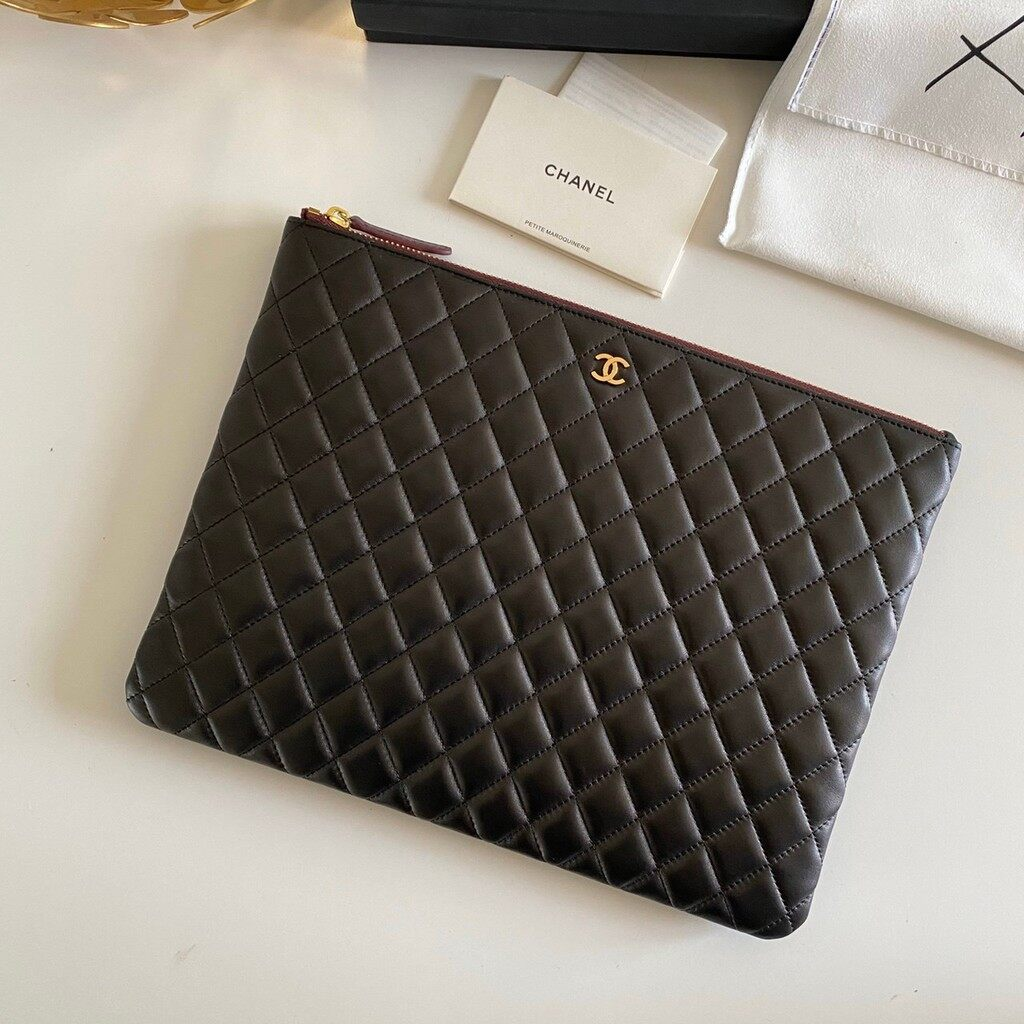 Chanel Case Quilted Medium Lambskin Leather Clutch.