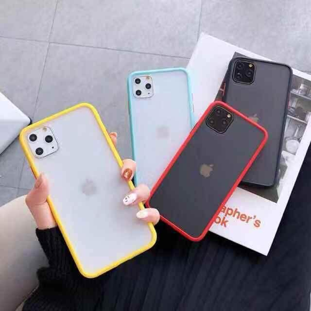 เคสด้านใสขอบสี รุ่น Iphone6g 6s 7 8 Iphone6plus 6splus Iphone7plus 8plus Iphnex Xs Xr Xsmax Iphone11 11pro 11promax.