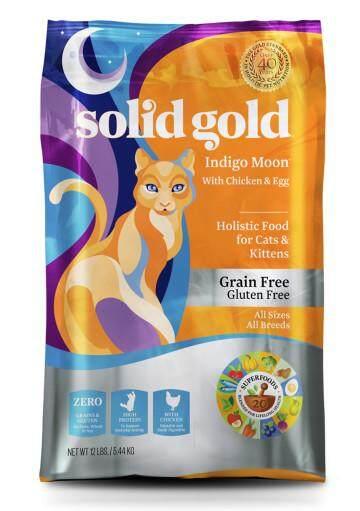 5.44 Kg - Solid Gold Indigo Moon อาหารแมว โฮลิสติกบำรุงขนป้องกันการเกิดโรคนิ่วสำหรับแมวผอมกินยาก.