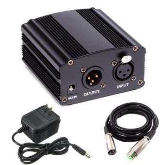 แหล่งจ่ายไฟ 48V Phantom Power + สายสัญญาณ Cable For Condenser Microphone ไมค์อัดเสียง ไมค์โครโฟน-
