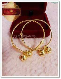 ใหม่!! กำไลข้อเท้าเด็ก กลมทอง ชุบทองแท้ 24K (99.99%)  เคลือบแก้วหนาพิเศษ (สินค้าแพ็คคู่ 2 ชิ้น)