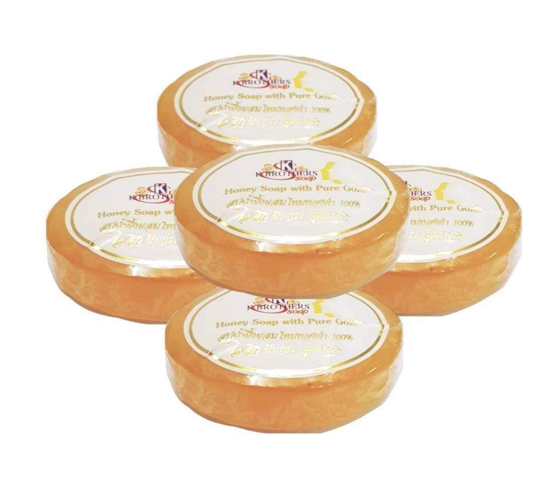 Honey Soap With Pure Gold สบู่น้ำผึ้งผสมไหมทอง ลดสิว ฝ้า กระ จุดด่าง ดำ 30g (5 ก้อน ).