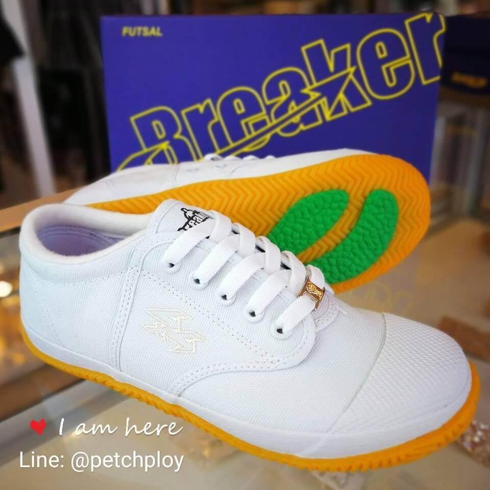 [BK4] Breaker รองเท้าผ้าใบนักเรียน ฟุตซอลเบรกเกอร์ สีขาวผูกเชือก เบอร์ 29-45