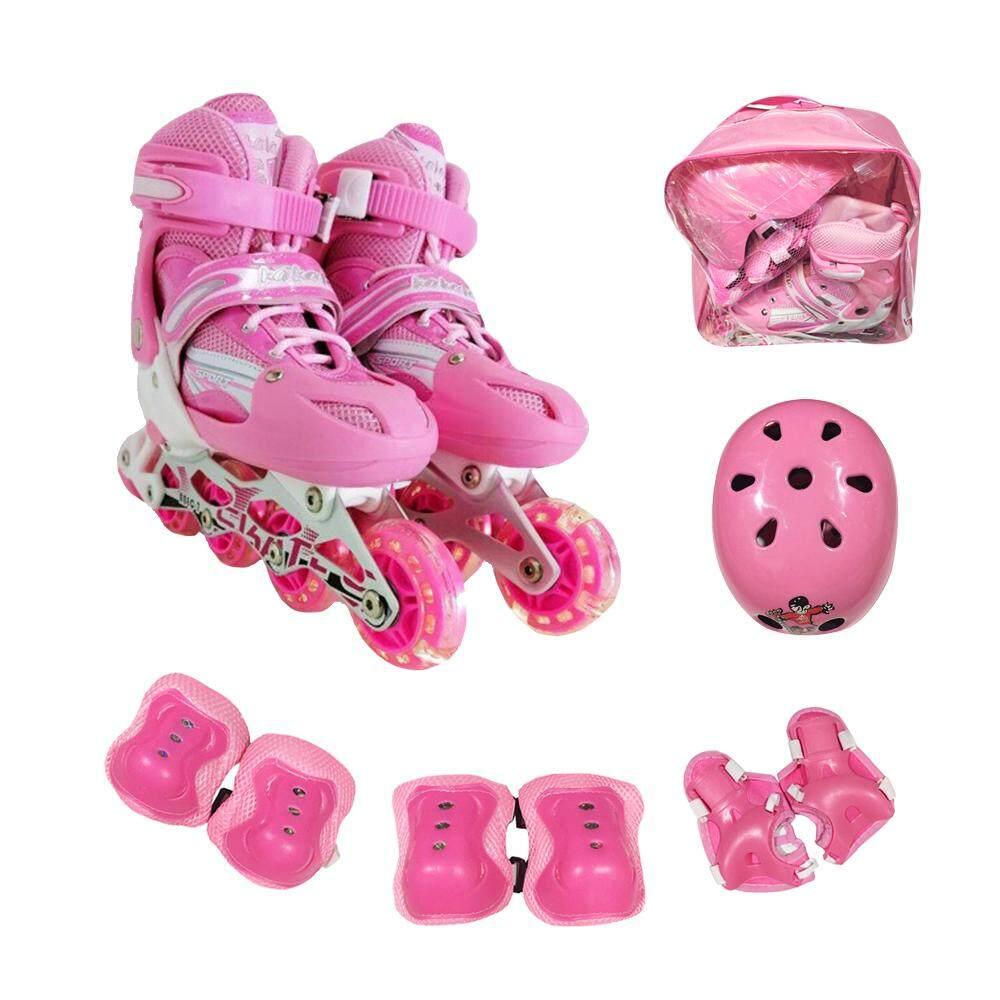 รองเท้าสเก็ต รองเท้าโรลเลอร์เบลด Size M-35-38 ชมพู  แถมชุดป้องกัน6ชิ้น และหมวก1+กระเป๋า1ใบ Pvc.