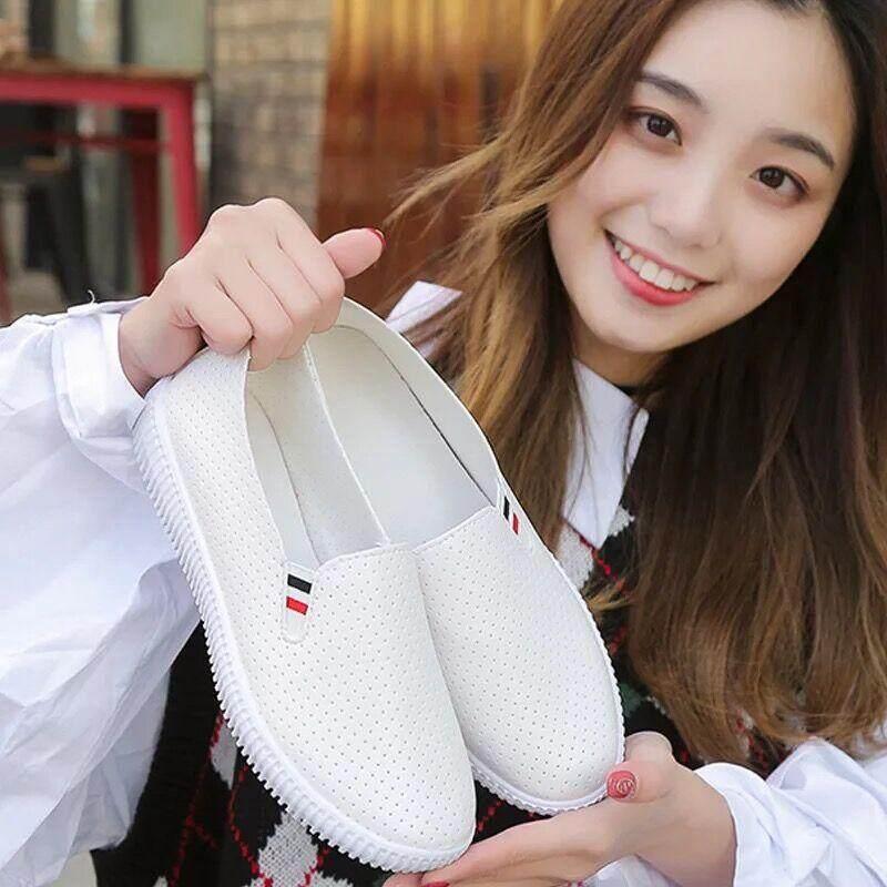 LKPshop รองเท้าผู้หญิงวัยรุ่น หนังpuใส่สบาย(สีขาว)