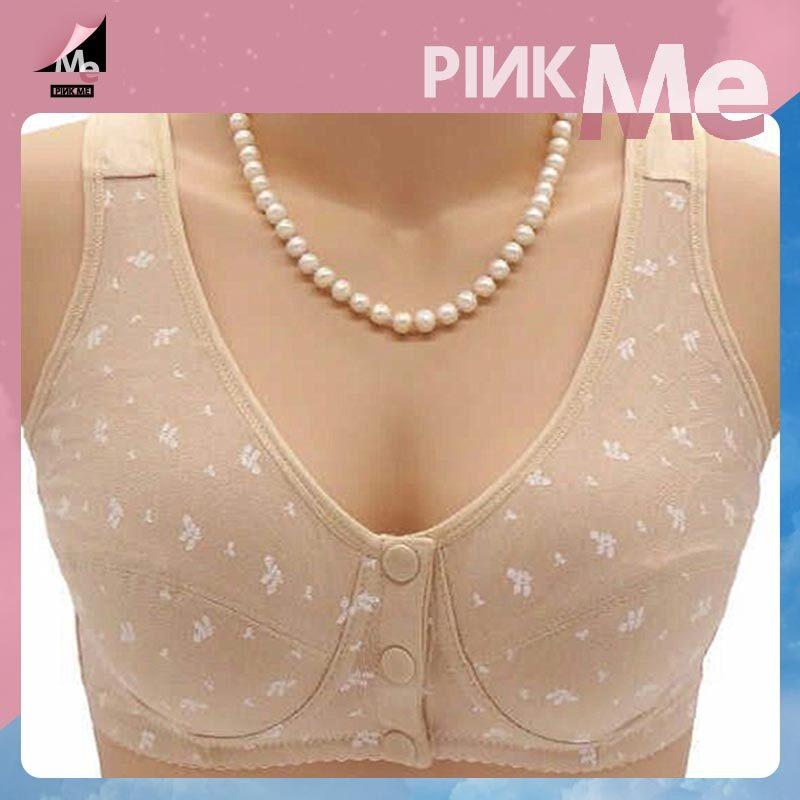 Pink.me วัยกลางคนและผู้สูงอายุชุดชั้นในด้านหน้าหัวเข็มขัดผ้าฝ้ายเสื้อกั๊กชุดชั้นในหัวเข็มขัดด้านหน้าสะดวกชุดชั้นในผ้าฝ้ายขนาดเ.