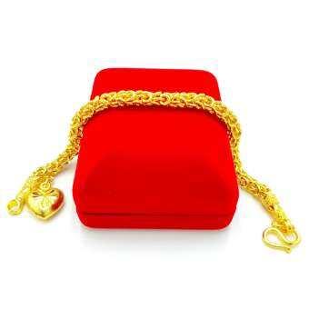 สร้อยข้อมือทอง  ลายมีนาห้อยหัวใจ ตัดลายจิกเพชร น้ำหนัก 2 บาท มีขนาดความยาวให้เลือก สินค้าขายดี ชุบเศษทองเยาวราช ชุบทอง 24K งานฝีมือจากช่างเยาวราช แถมฟรีตลับใส่ทอง
