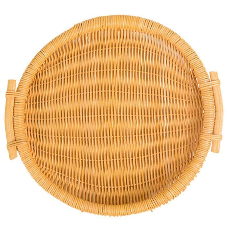 Woven Bread Roll Basket Food Desktop Service Basket Fruit Basket Bread Tray Rattan And Wicker Basket Desktop / Storage / Picnic Basket, Restaurant Service, Willow Basket (Round)
