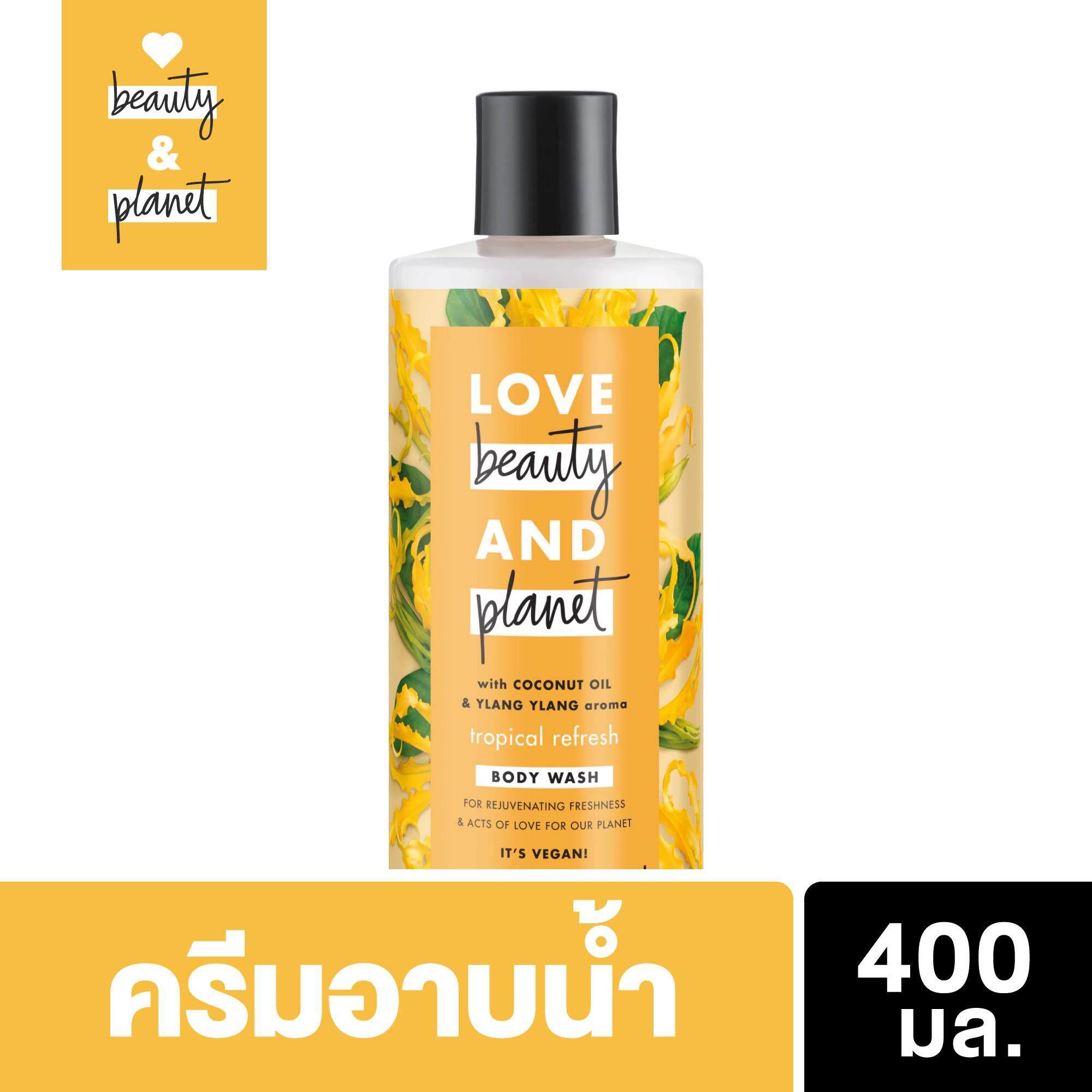 Love Beauty and Planet Tropical Refresh Body Wash_ Coconut Oil & Ylang Ylang Organic Bodywash_ 400ml เลิฟ บิวตี้ แอนด์แพลนเน็ต ทรอปิคอล รีเฟรช บอดี้ วอช 400มล. ครีมอาบน้ำ ออร์แกนิค เพื่อผิวแห้งกร้าน กลับมาแลดูมีชีวิตชีวา กลิ่นดอกYlang Ylang
