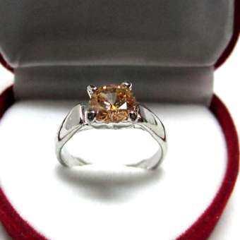 TANITTgemsแหวนทองคำขาวประดับพลอยบุษราคัมขนาด2กะรัต-
