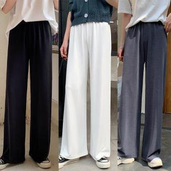 2020 ฤดูร้อนใหม่กางเกงขากว้างกลางเอวสูงกางเกงยีนส์หลวมตรงกางเกงลำลองกางเกงซับป่าหญิงกางเกงลำลอง กางเกงผู้หญิง