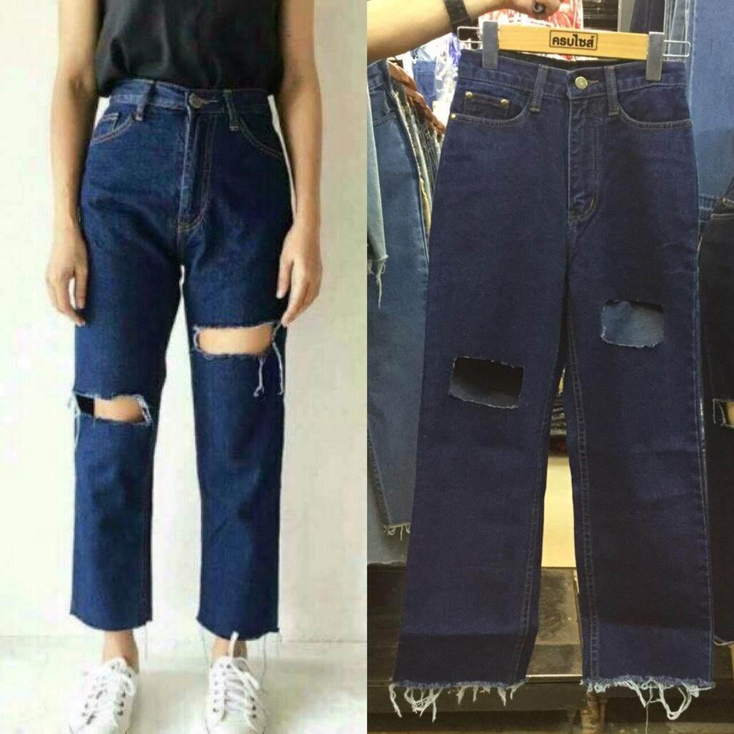 Runway Jeans ขากระบอก Vintage Style เอวสูง ผ้ายีนส์ไม่ยืด ขาดโบ๋ ตัดปลายขา สีฟ้า สียีนส์เข้ม By Runway Jeans.