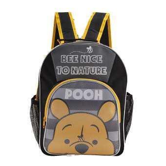 Winnie The Pooh กระเป๋าเป้ กระเป๋านักเรียนสะพายหลัง (สีดำคาดเหลือง)