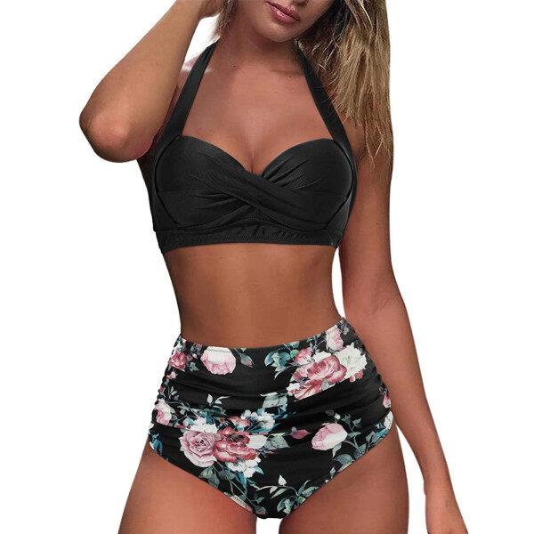 Nơi bán (Fantnesty) Bộ Đồ Bơi Cạp Cao Đồ Bơi Ngoại Cỡ Cho Nữ, Đồ Bơi Nữ Cổ Điển Che Kín Cỡ Mũm Mĩm Dây Cổ Điển Hai Mảnh Bộ Bikini In Eo Cao Xếp Nếp