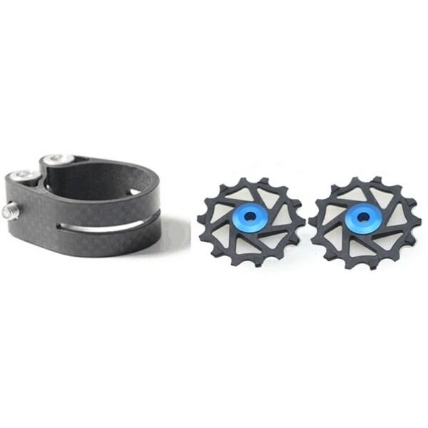 Mua 1 Pcs Carbon Fibre Bike Seatpost Clamp 31.8mm & 1 Pair 14T Mountain Bike Road Bike Resin Ceramic Bearing Jockey Wheel