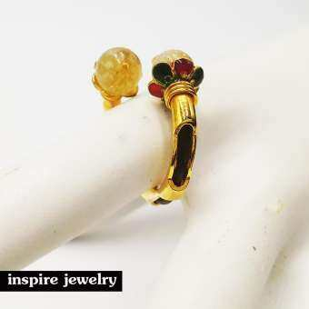 Inspire Jewelry ,แหวนหินไหมทองและ หรือ หินตาเสือ ตัวเรือนหุ้มทองแท้ 100% 24K ลงยา หรือชุบเงิน ชุบทองสอดหางข้าง ลงยา ฯลฯ ฟรีไซด์ นำโชค เสริมดวง โชคลาภ พร้อมถุงกำมะหยี่