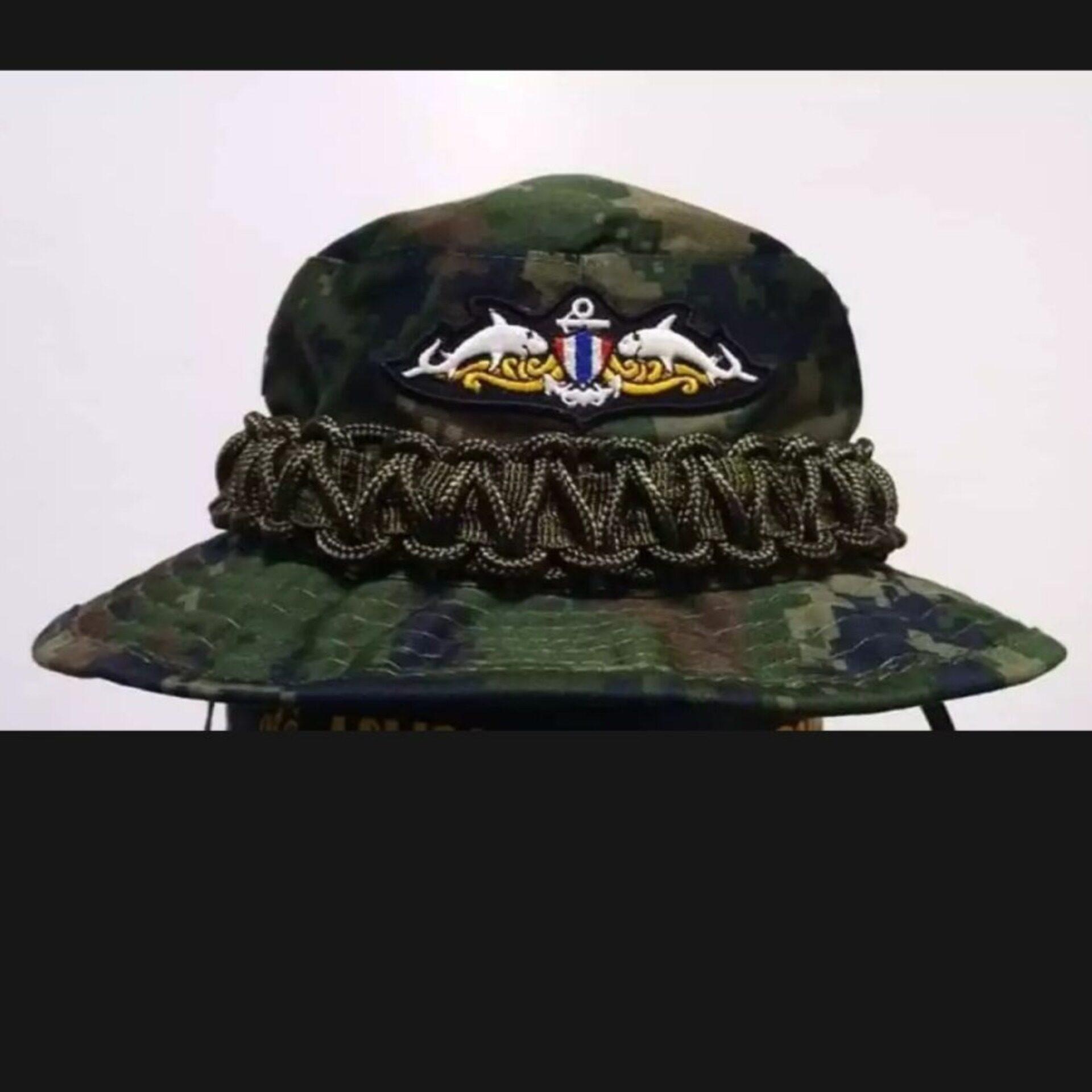 หมวกปีกลายพรางทหารเรือ ติดอาร์มมนุษย์กบ ถักเชือกรอบหมวก.