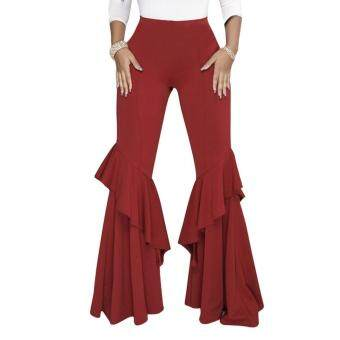 5191f5eeafd606 การส่งเสริม Elegant Women Ol High Waist Wide Leg Pants Trousers Bottoms  Ruffle Bell Flared Pants Sexy Solid Wrinkled Trousers Ladies Clothes Red L  ...