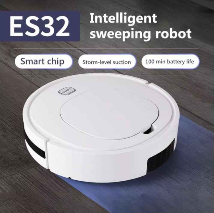 หุ่นยนต์ดูดฝุ่น ES32 หุ่นยนต์กวาดอัตโนมัติ เครื่องดูดฝุ่น ใช้งานยาวนาน 90 ทำความสะอาด 3 in 1 Robot Vacuum cleaner