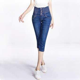 เอวสูงสามส่วนกางเกงยีนส์หญิงฤดูร้อนสไตล์เกาหลีกางเกงเอวยางยึดเพิ่มขนาดไซส์ใหญ่พิเศษไขมัน MM เสื้อผ้าแฟชั่น สลิมความยืดหยุ่นกางเกงขาเล็กลำลอง