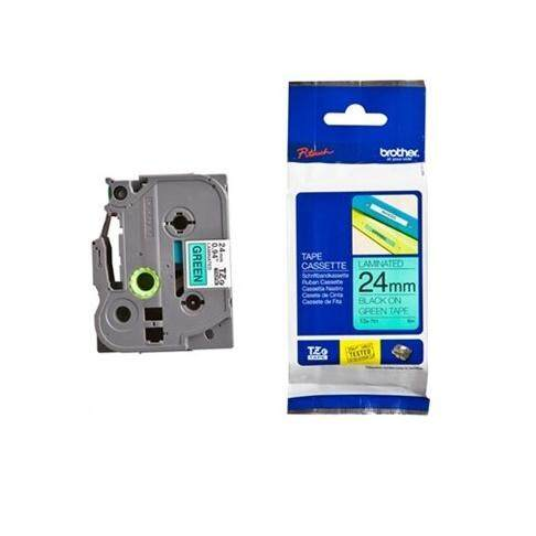 BROTHER Black on Green Label Printer Tape 24 mm (TZE751)