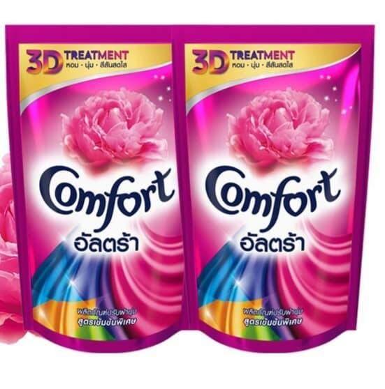 (แพ็ค2ถุง) Comfort คอมฟอร์ท อัลตร้า สีชมพู แบบถุงเติม ขนาด 650 Ml.×2ถุง.
