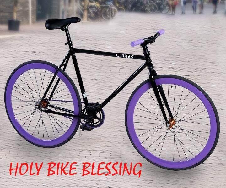 จักรยาน Fixedgear 700c ม่วง ดำ แถมฟรี !! สายล๊อค ที่ใส่ขวดน้ำ ปั้มลมพกพา กระดิ่ง By Holy Bike Blessing.