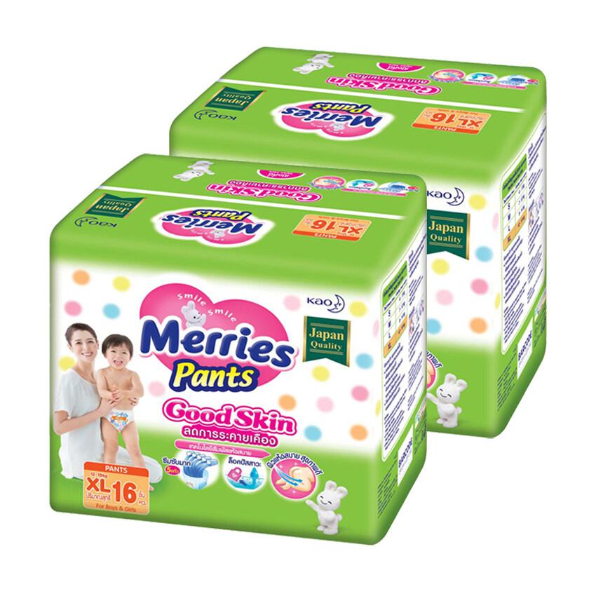 MERRIES เมอร์รี่ส์ กางเกงผ้าอ้อมเด็ก กู๊ดสกิน ไซส์ XL 16 ชิ้น (รวม 2 แพ็ค ทั้งหมด 32 ชิ้น)