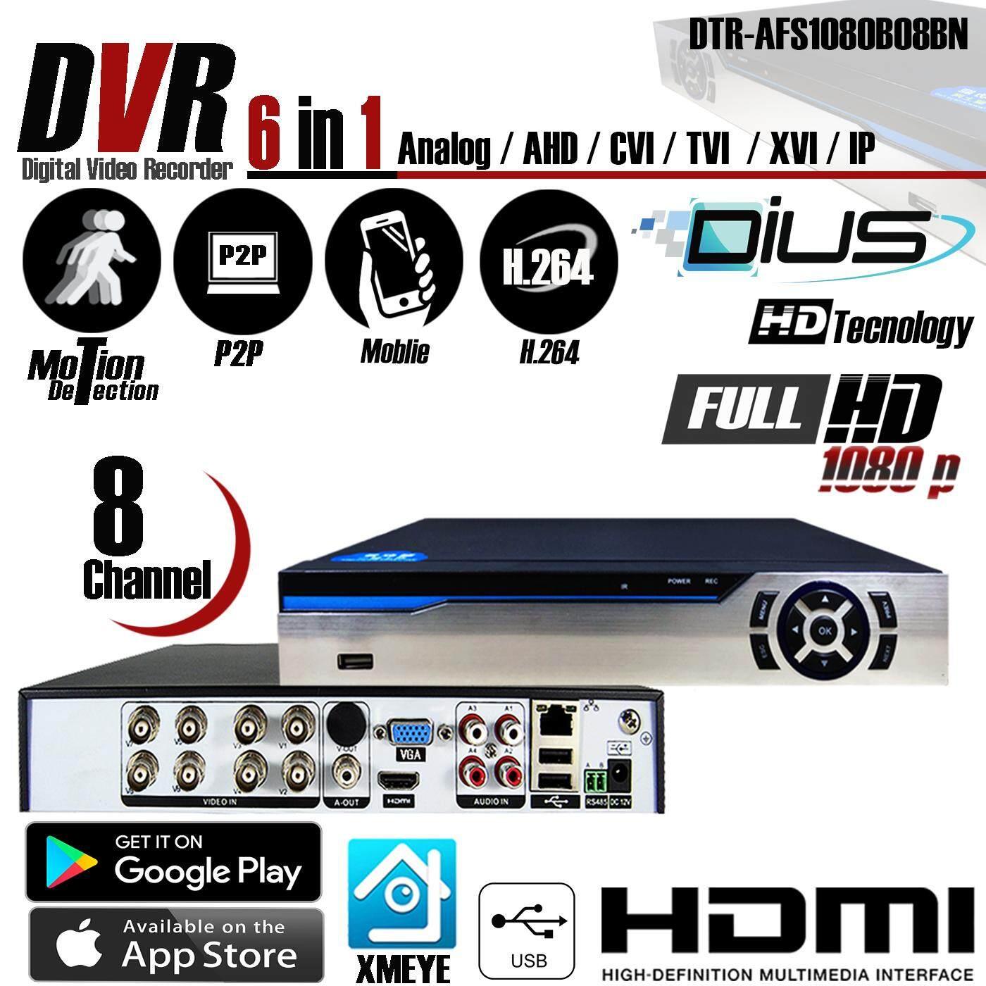 6 In 1 เครื่องบันทึกภาพ Dvr Full Hd 1080p 8 Ch รุ่น Dius ( Dtr-Afs1080b08bn ) สำหรับกล้องวงจรปิด 6 ระบบ Ahd / Cvi / Tvi / Xvi / Ip / Analog By Dius Technology.