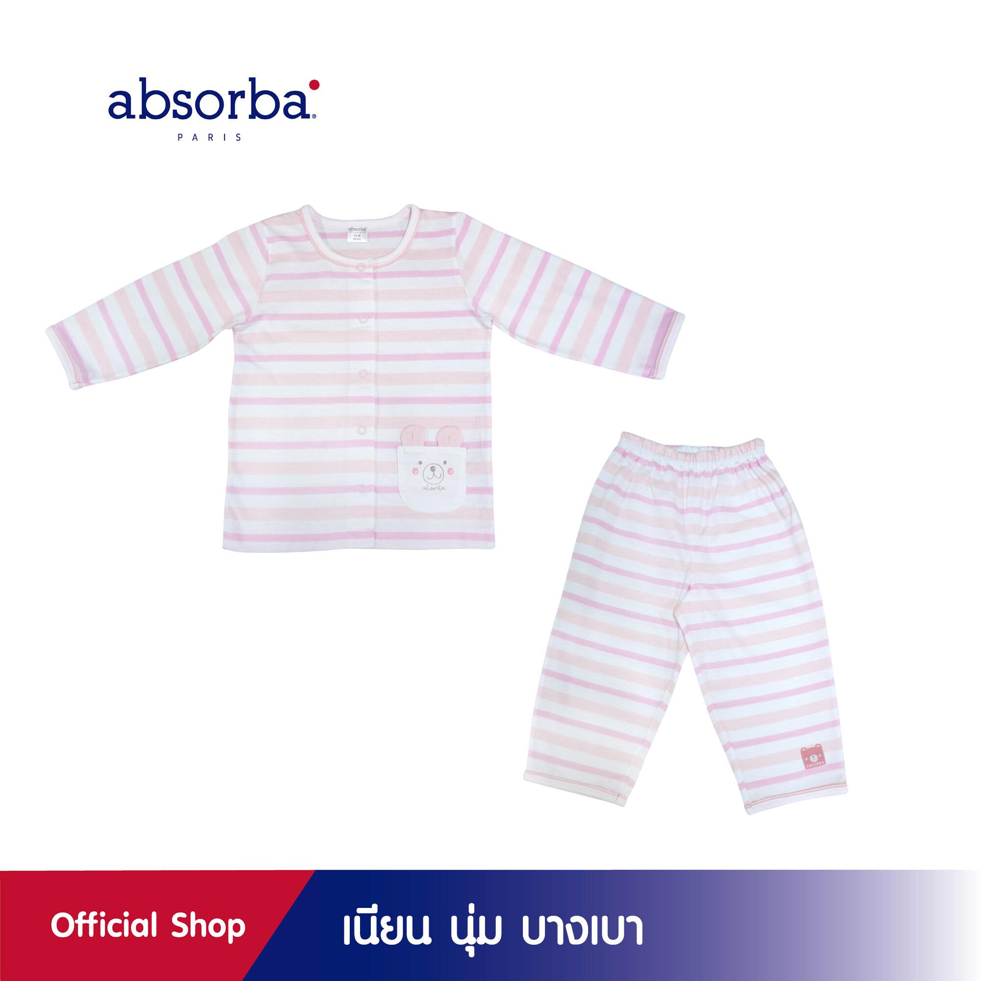 รีวิว absorba (แอ๊บซอร์บา) ชุดนอนเด็กหญิง กระดุมหน้า แขนยาว ลายริ้วสีชมพู คอลเลคชั่น DOU DOU สำหรับเด็กอายุ 6 เดือน - 2 ปี-R1R7002PI