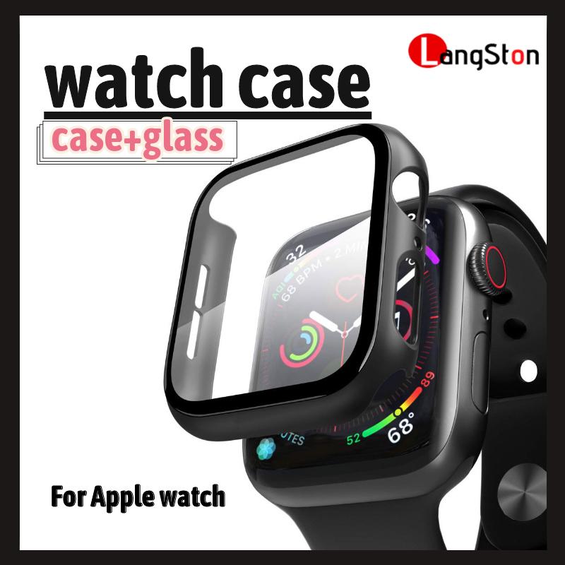 เคส Applewatch 44mm / 42mm /40mm / 38mm Case Apple Watch Series 5 / 6 /se / 3 / 4 ด้วยกระจกนิรภัยป้องกันลายนิ้วมือป้องกันรอยขีดข่วน ดำและขาว เคสใส เคสใส Iwatch.