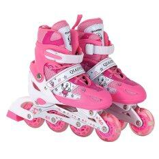 ราคา Dmall เล่นสเก็ตลูกกลิ้ง รองเท้า Children Pro Roller Style Inline Skate Outdoor Sport Shoes Size S 27 32 Pink ราคาถูกที่สุด