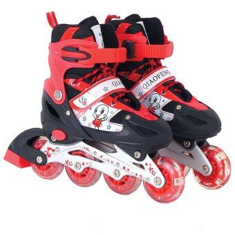 DMALL เล่นสเก็ตลูกกลิ้ง รองเท้า Children Pro Roller Style Inline Skate Outdoor Sport Shoes Size:S(27-32) - Red
